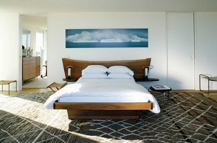 Schlafzimmer Design rot petrol kopfende teppich