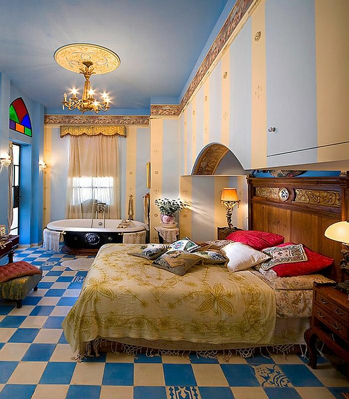 Schlafzimmer Design weiß blau weiß