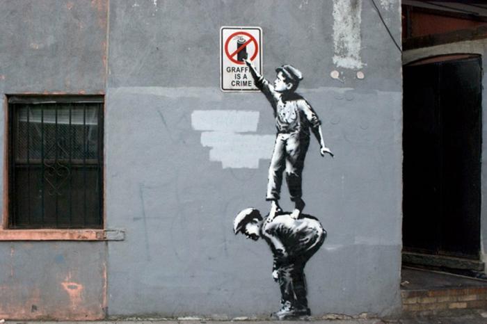 Streetart Künstler Banksy plakativ