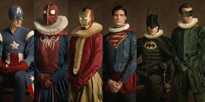 Superheld versammelte Gemeinschaft