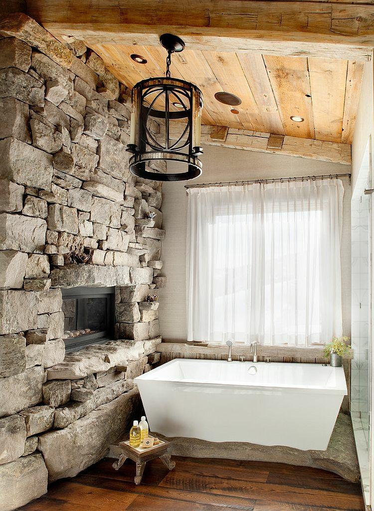 ausgefallene badmöbel rustikal steinwand badeinrichtung