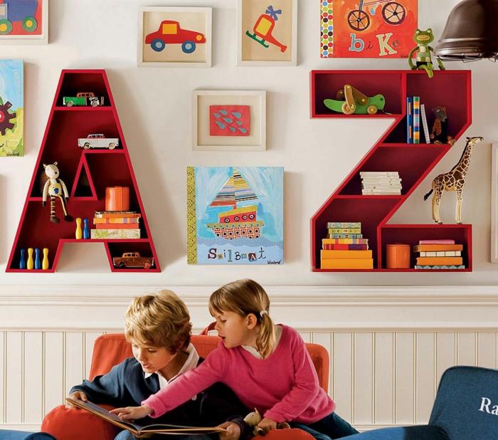 wandregale cooles design buchstaben kinderzimmer einrichten