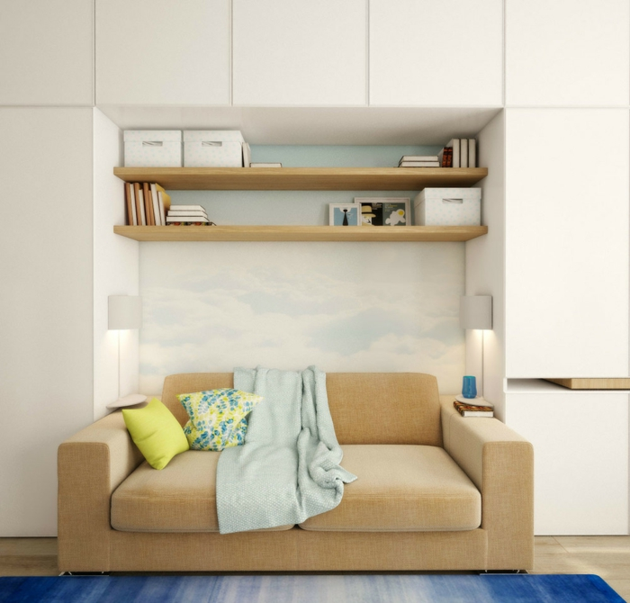 wandregale wohnzimmer hölzern minimalistisch sofa teppich