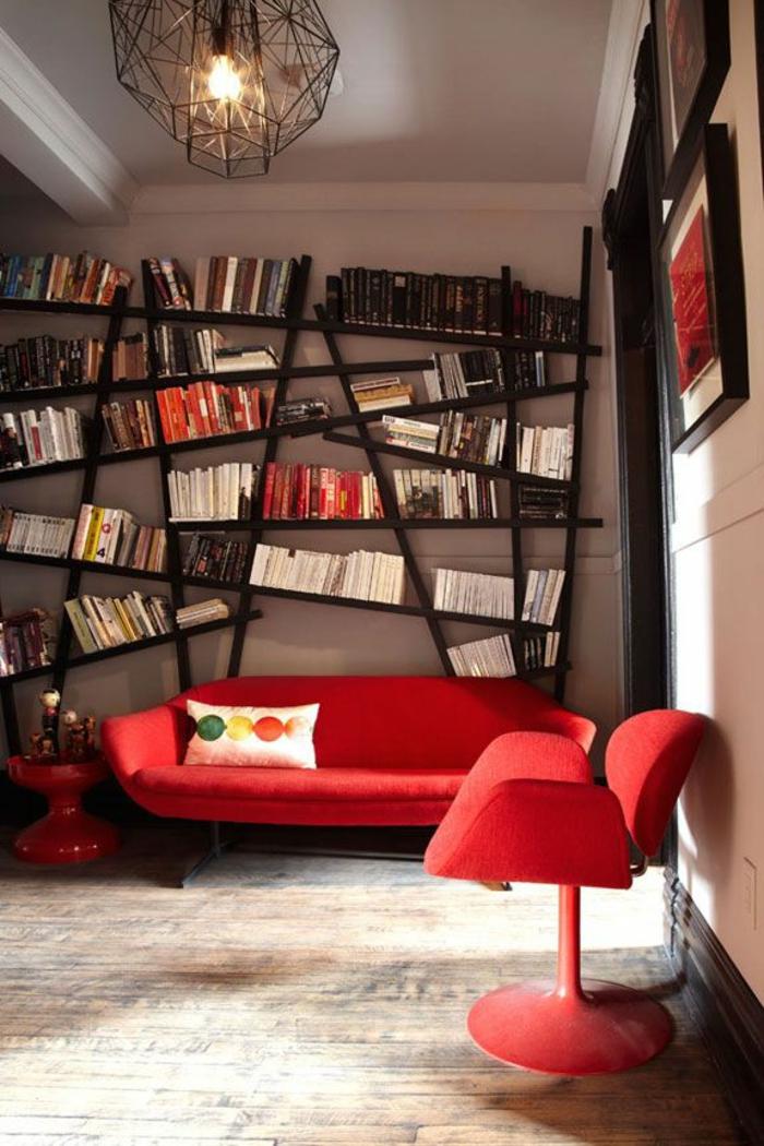bücherregale design wohzimmer rote möbel