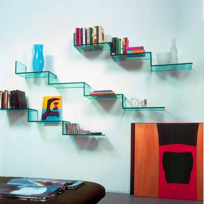 wandregale gläsern coole wandgestaltung wohnzimmer
