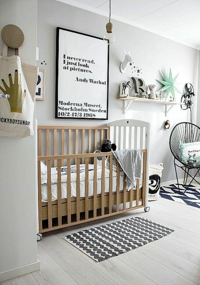 kinderzimmer ideen wandgestaltung und möbel babybett holz