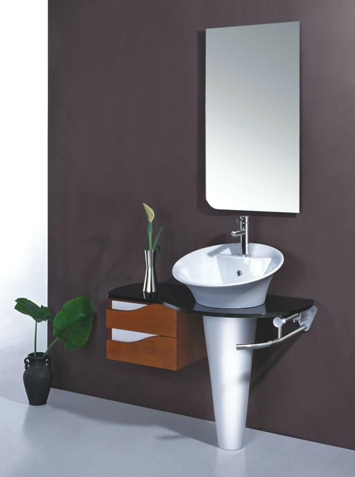 badezimmermöbel colles waschbecken wandspiegel pflanzen