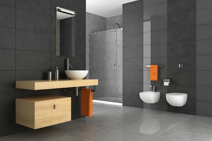 badezimmermöbel dunkle wandgestaltung orange tücher