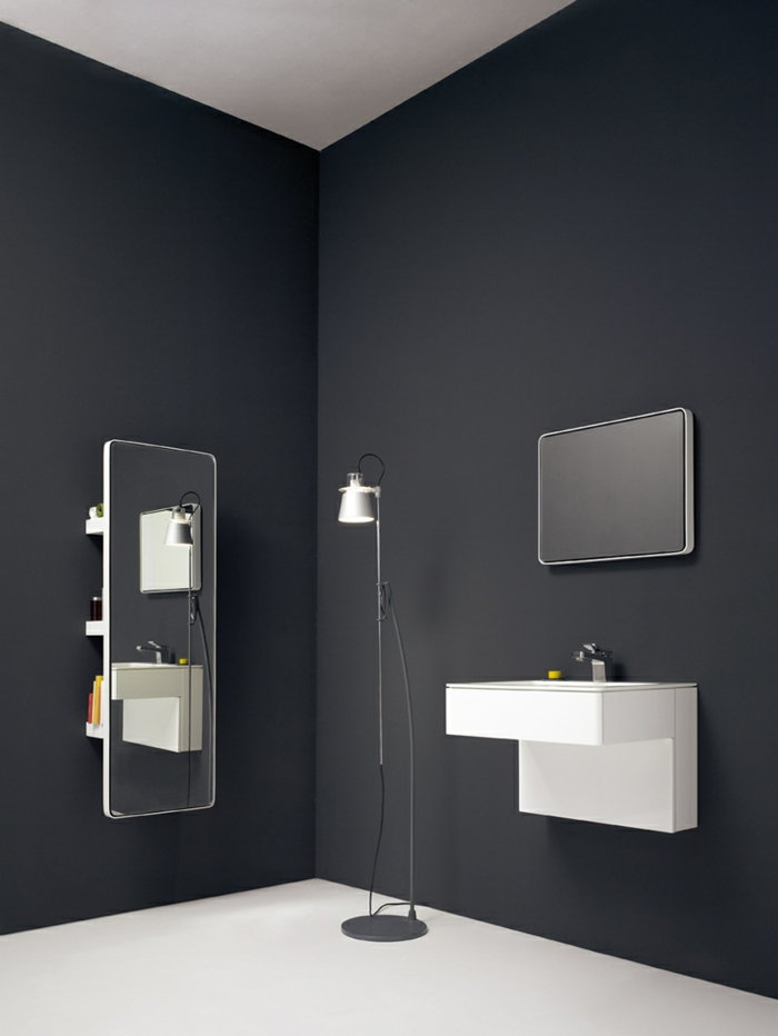 badezimmermöbel minimalitische einrichtung graue wandfarbe