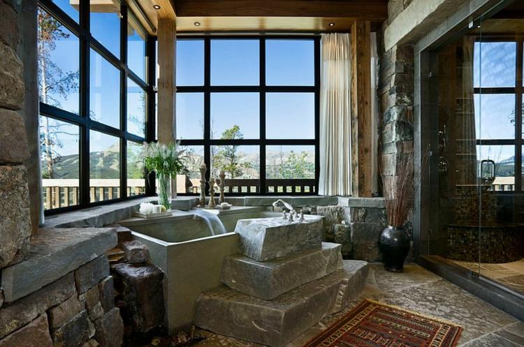 badmöbel rustikal badeinrichtung glaswände fenster