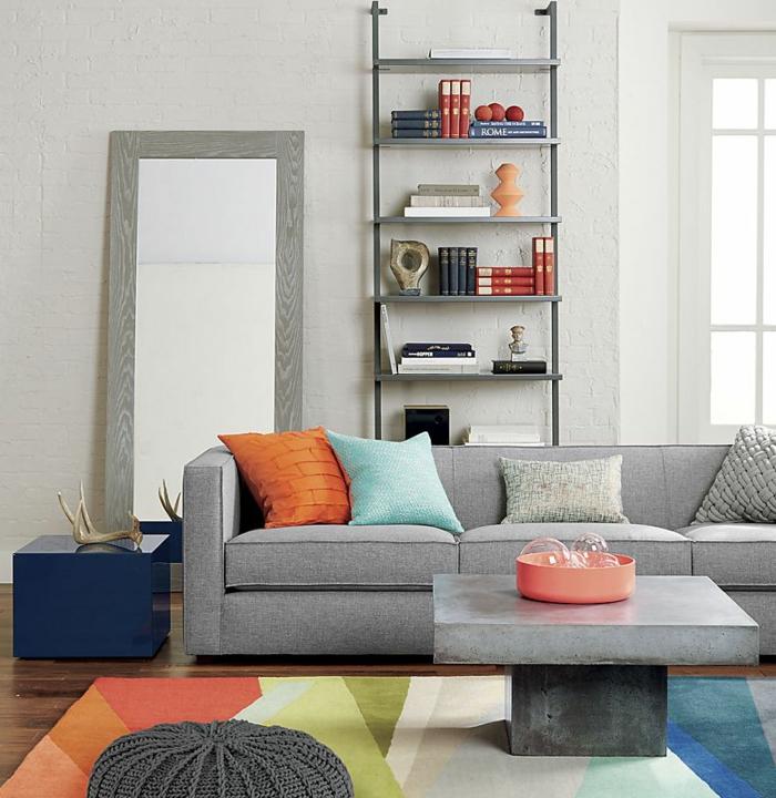 beton couchtisch grau minimalistisch retro möbel