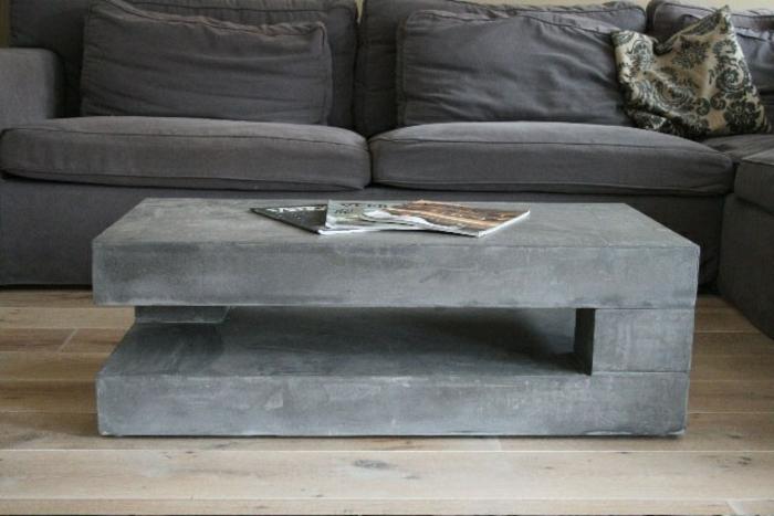 beton couchtisch grau raue oberfläche minimalistisch