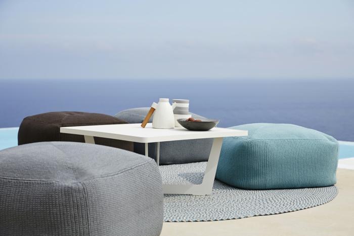 coole möbel außenbereich gestalten runder teppich hocker gartentisch