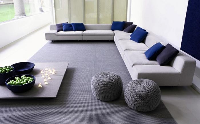 coole möbel wohnzimmer einrichten gestrickte puffs hocker