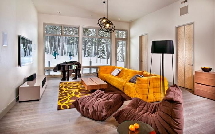 coole möbel wohnzimmer gelbes sofa braune sessel