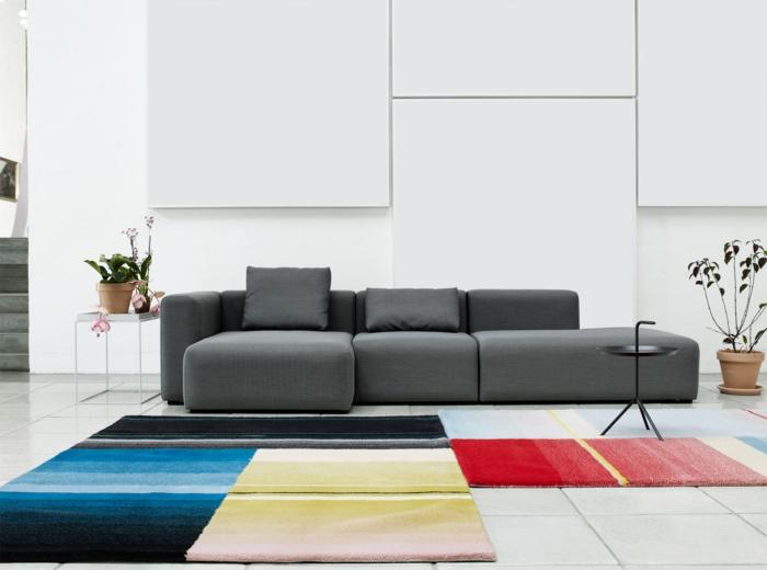 dänische möbel module couch gestreifte teppiche