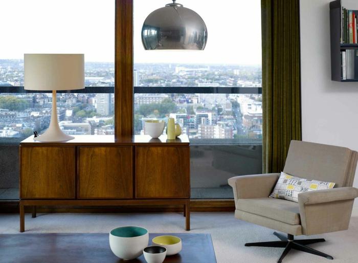 vintage wohnzimmer möbel:dänische möbel retro einrichtung wohnzimmer sessel anrichte