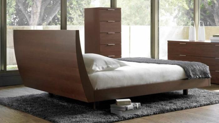 dänische möbel schlafzimmer dunkles holz bett konsolen