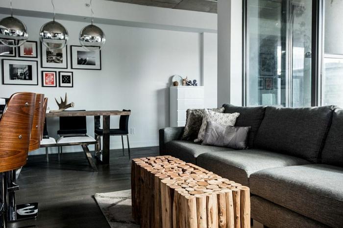 Dachwohnung Einrichten Eohnzimmer Rustikaler Couchtisch