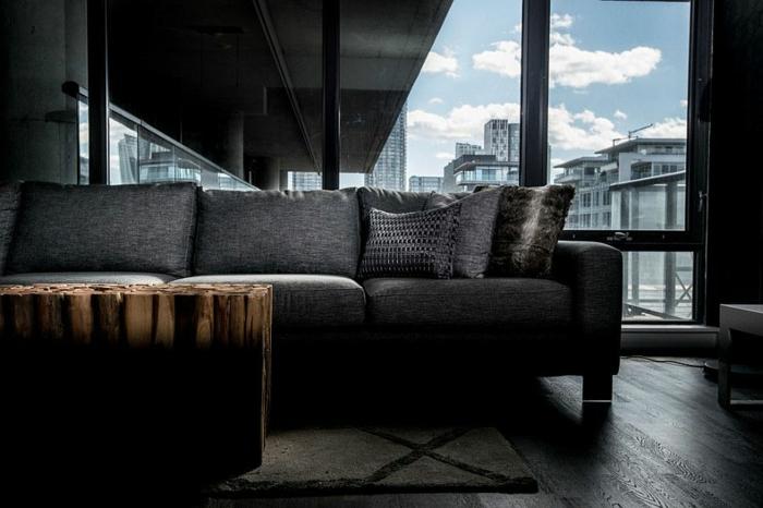dachwohnung einrichten plüsch sofa woohnzimmer