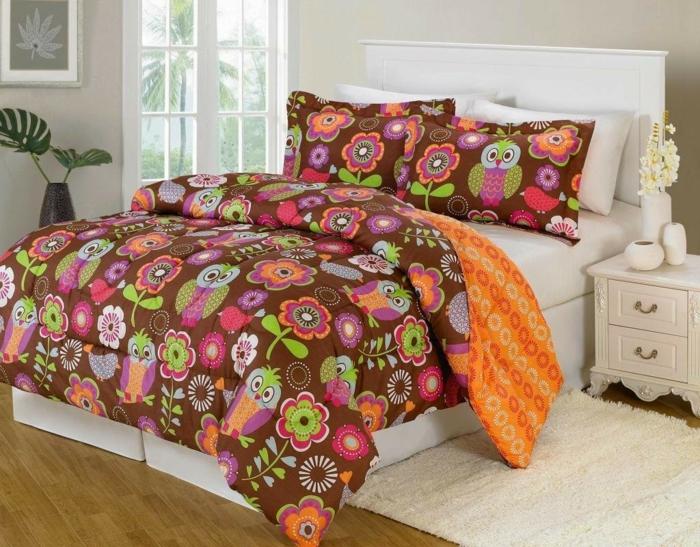 deko ideen schlafzimmer farbige lustige bettwäsche eulen