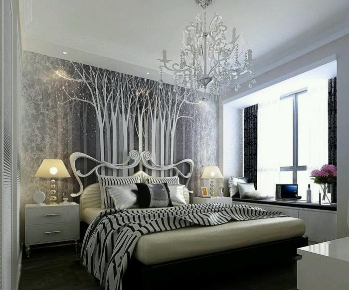 deko ideen schlafzimmer schöne wandtapete blumen