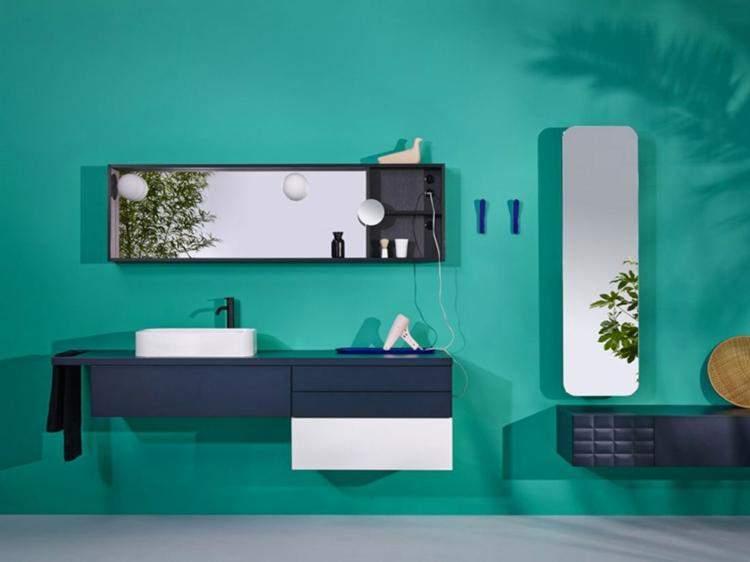 designer badmöbel InGrid badmöbel waschtisch wandfarbe grün