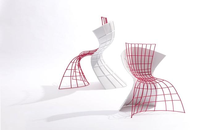 designer stuhl von eva chou r shell chair weiß rot