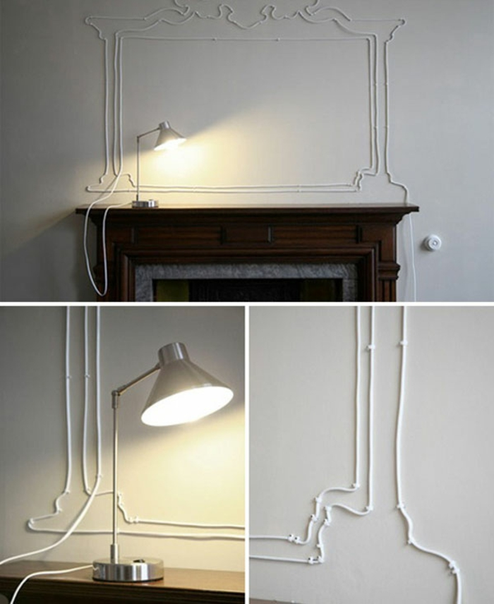 將電線釘在牆上繞出城堡或是城市剪影的圖案