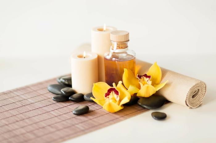 duftöle kaufen orchidee gelb kerzen runde steine