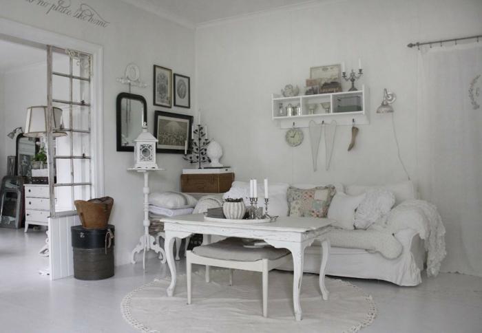 einrichtungsideen shabby chic wohnzimmer runder teppich