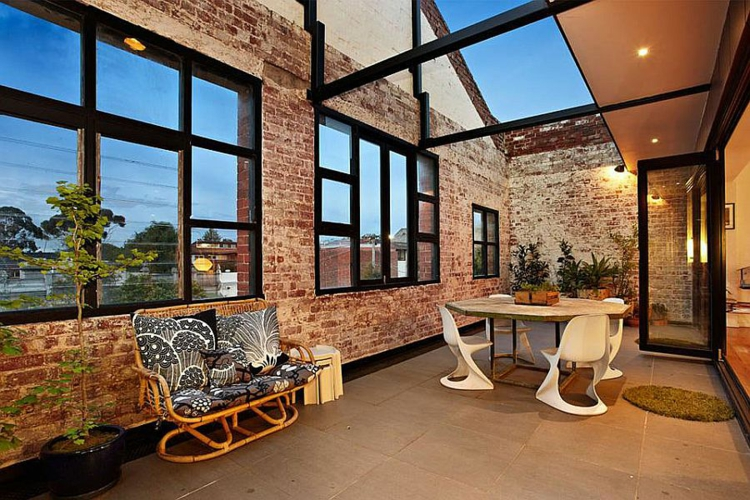 einrichtungstipps wohnzimmer industrial style möbel bricksteinwände