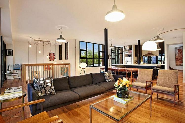 einrichtungstipps wohnzimmer industrial style möbel holzboden wohnung Melbourne
