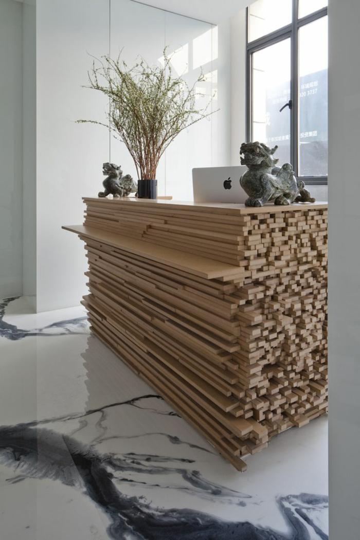empfangstresen sperrholz holzplatten empfantstheke