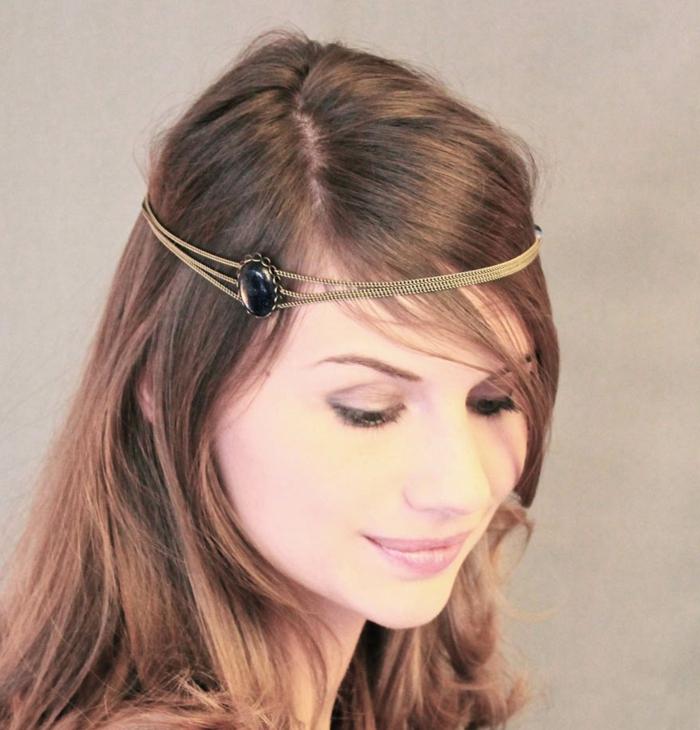 frauenfrisuren langes haar haarband schöne haaraccessoires