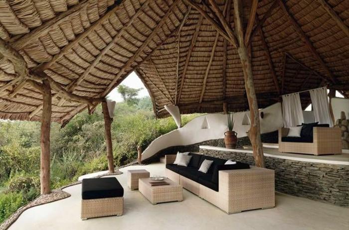 garten lounge möbel rattan flechtmöbel sonnensichtschutz
