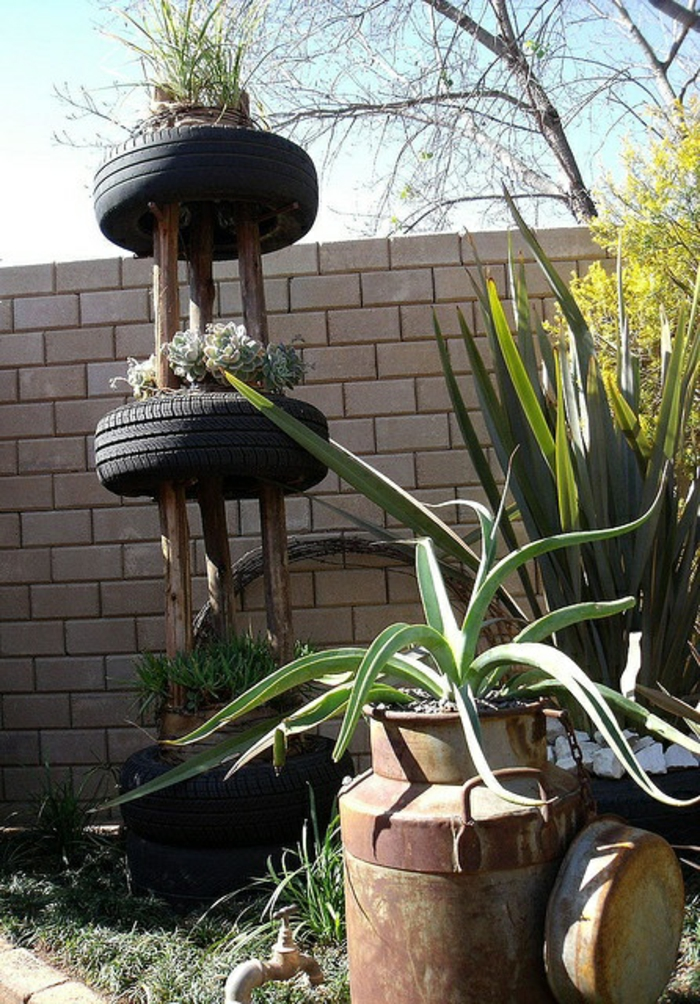 gartendeko selber machen toller pflanzenbehälter autoreifen