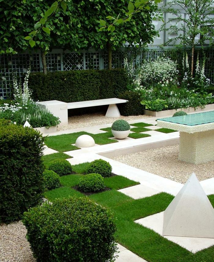 gartendesign kieselsteine eckige formen sitzbank marmor tisch