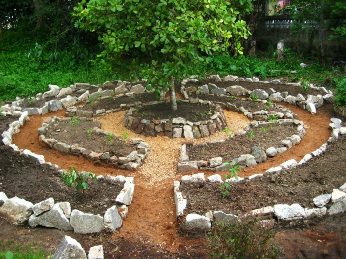 gartendesign steingarten runde formen permakultur