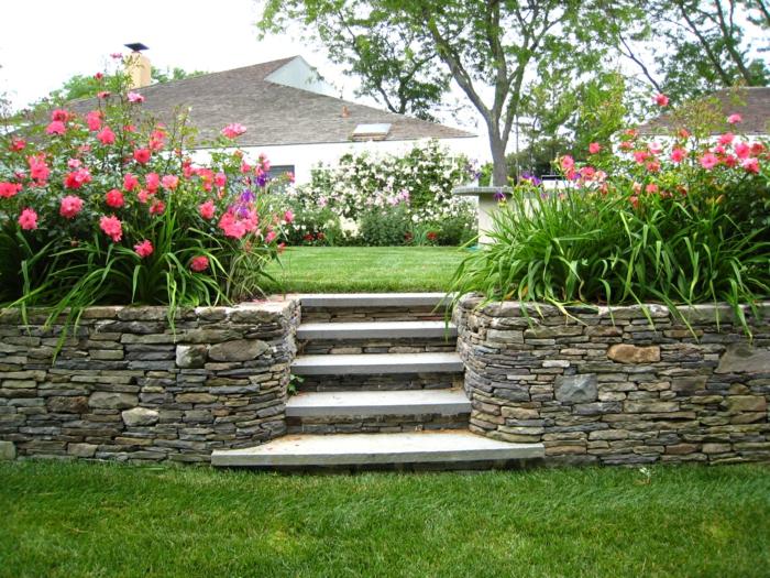 gartendesign steinmauer trockenbau