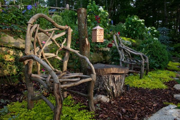 gartengestaltung gartenmöbel diy naturholz wurzeln
