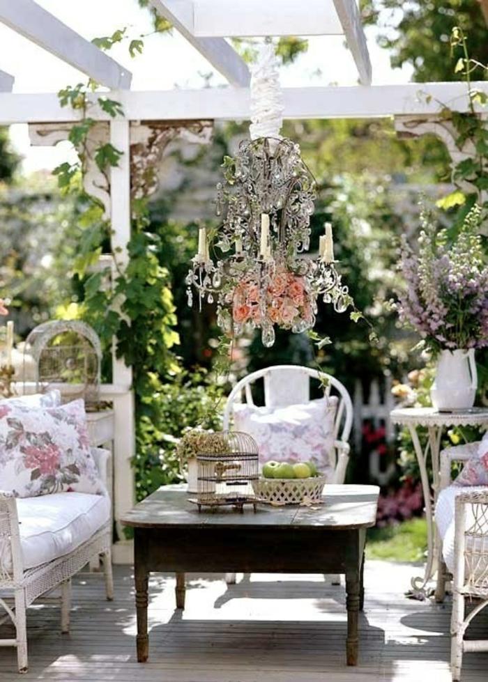 gartenideen deko garten schöne außenmöbel leuchter