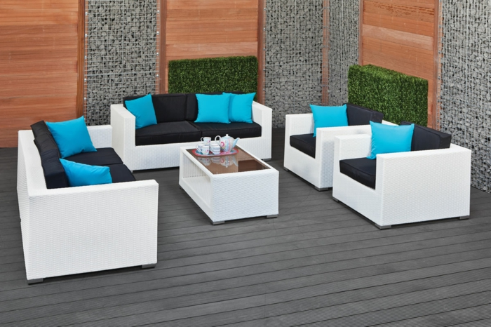 rattan gartenm bel weiss. Black Bedroom Furniture Sets. Home Design Ideas