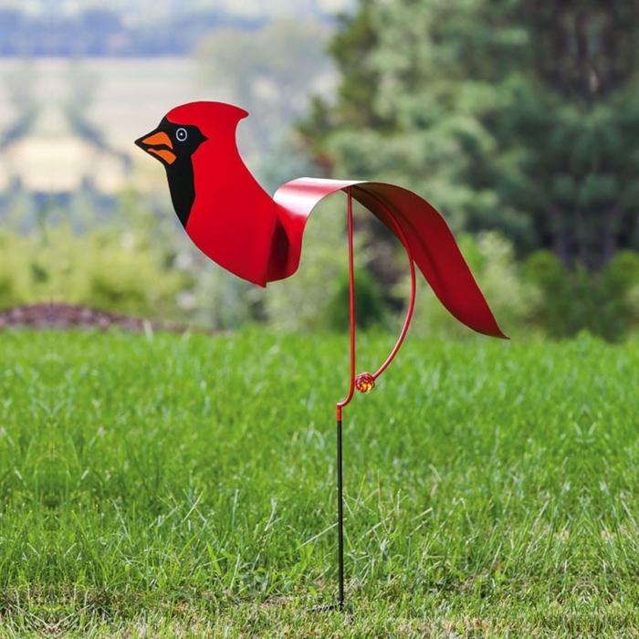 gartenstecker rotes vogel garten verschönern