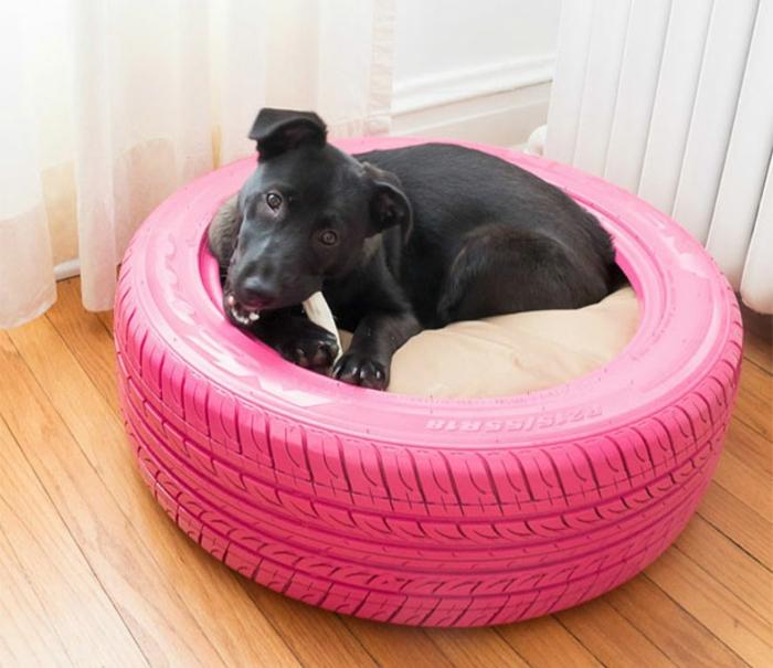 gebrauchte autoreifen hundebett rosa