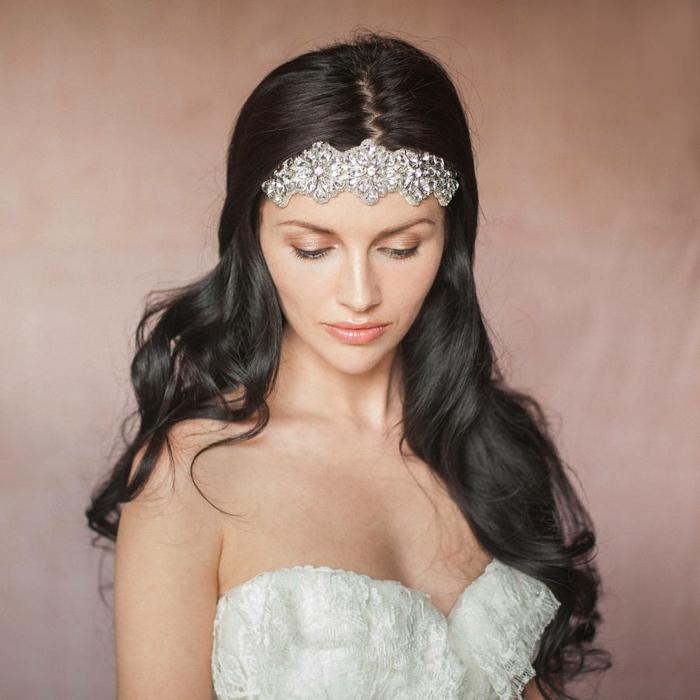 haarband haarreifen stirn glitzersteine silber