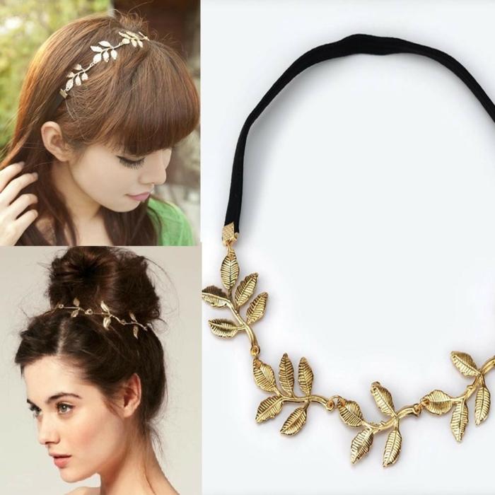 haarband haarreifen stoff blätter ornamente