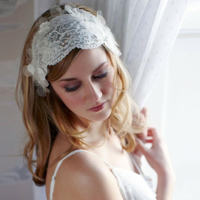 haarband haarreifen vintage stil weiße spitze
