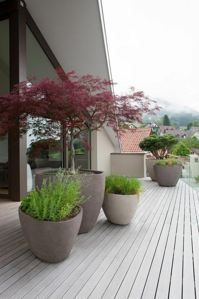 japanischer garten terrassengestaltung mit topfpflanzen japanischer stil