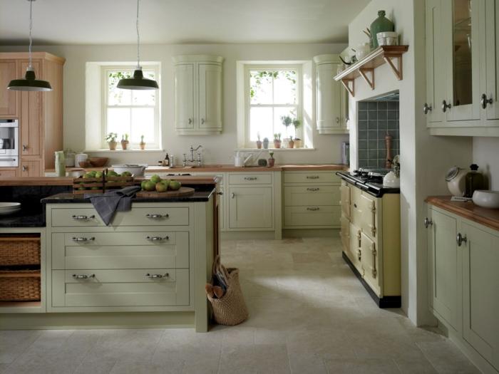 küchen im landhausstil geräumig hängelampen bodenfliesen